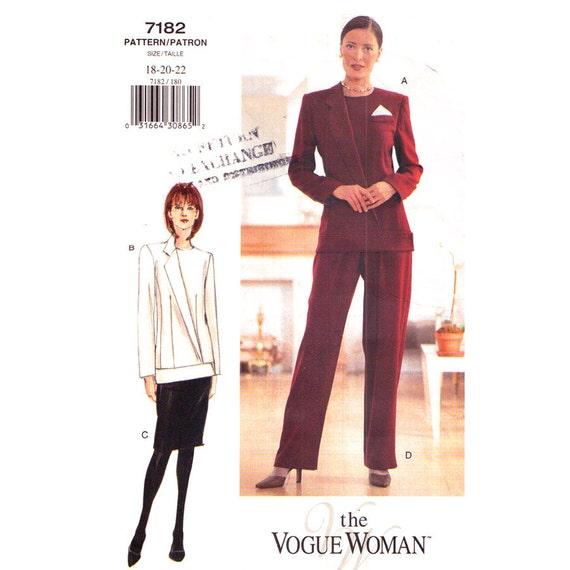 Vogue 7182 Womens Suit Pattern Asymmetrical Jacket Slim Skirt Pants Plus Size 18 20 22