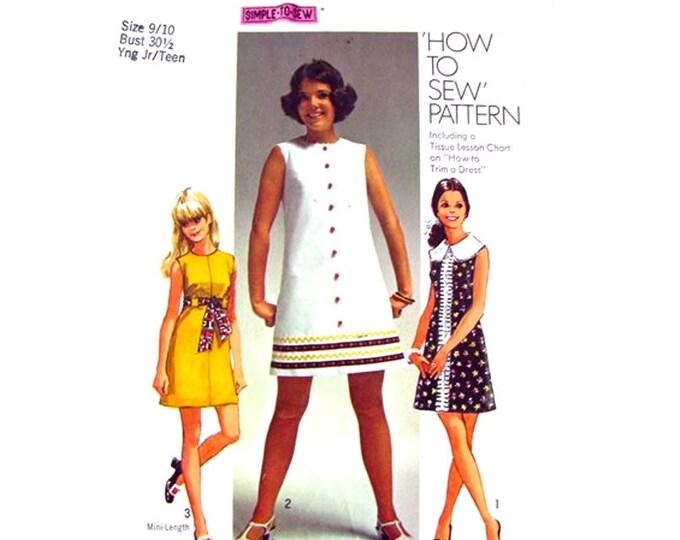 1960s Mini Dress Pattern Simplicity 8609 Sleeveless Trim Dress Collar Size 9 10 Junior Teen