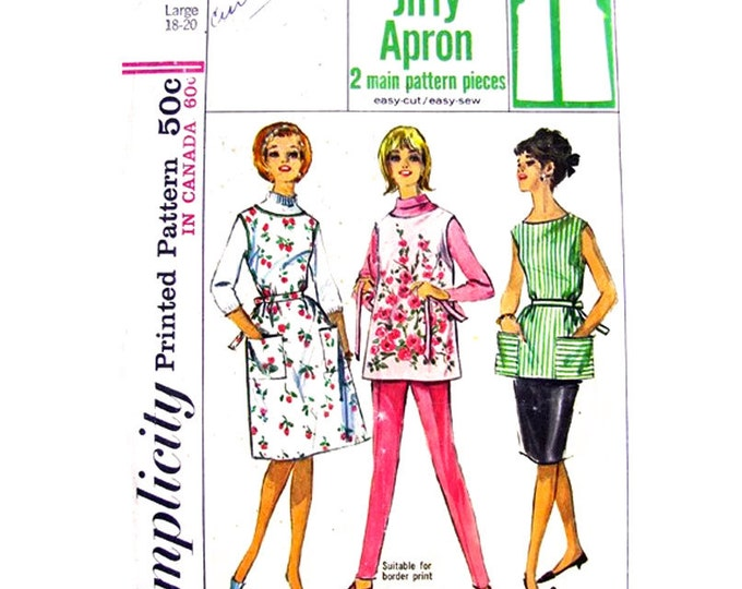1960s Apron Pattern Simplicity 5763 Button Back Kitsch Hostess Apron Bust 38 40