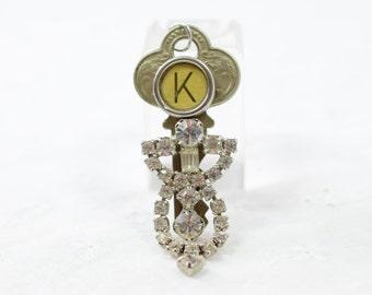 Initial charm / K letter / Vintage Key upcycled / Rhinestone OOAK / typewriter key / pendant / birthday monogram K / brass