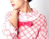 Vintage Sheer Red White DROPWAIST Plaid Stripe Kawaii Lace Bib Dress with Bow // Vintage 60s Dress (sz XS S)