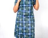 Vintage 60's Dress // Blue Thistle Dot PLAID PRINT School Dress // Vintage Plus Size Dress (sz XL 12 14)