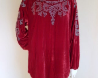 Red Velvet blouse ethnic embroidery Silk and rayon Large Womens vintage