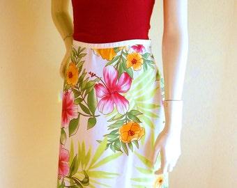 Vintage SILK Skirt, Hilo Hattie , Tropical Print, Medium