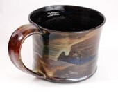 14 oz Black and Amber Porcelain Mug Ready to Ship