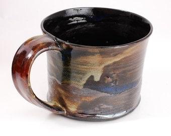 14 oz Black and Amber Porcelain Mug Ready to Ship