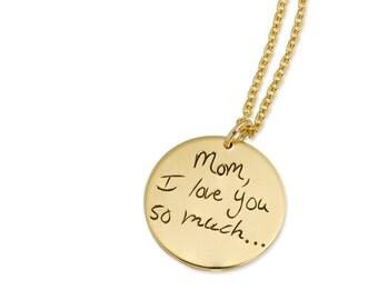 Custom Handwriting Gold - Signature Pendant - Handwriting Necklace - Personalized Necklace - Memorial Necklace - Gold Personalized Pendant