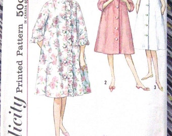 ON SALE Vintage 60s Simplicity 4708 Misses' Robe Pattern Bust 34 inches