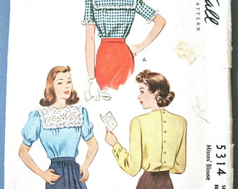 1940s McCall 5314 Misses' Blouse Pattern Semi Fitted Back Buttons Collarless Vintage Sewing Pattern  Bust 34 inches