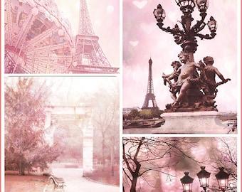 Paris Photography, Pink Paris Prints, Baby Girl Nursery Decor, Paris Shabby Chic Decor, Paris Pink Photography, Paris Wall Art, Paris Prints