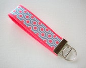 Key FOB / KeyChain / Wristlet  - Modern Honeycomb - Aqua Coral - bridesmaids bff friends graduation gift coworker