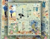 By the Seashore Digital Scrapbook Paper Seaside Illustrations Vintage Color Images Instant Printable Download