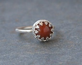 Rings, Carnelian Ring, Red Orange Carnelian, Stack Ring,  One-of-a-Kind Ring