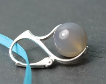 Sterling Silver Lever Back European style earrings with Natural Gray Onyx by art4ear, grey stone earrings, drop earrings