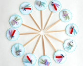 Fishing Lures - Birthday or Father's Day Cupcake Toppers/Party Sticks