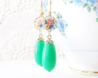 Vintage Lucite Mint Green Earrings - Floral Rose Limoges Earrings - Pink Rose Earrings - Shabby Chic Green - Dangle Earrings