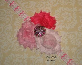 Pink Flower Headband, Baby Headband, Pink Chevron Headband, Shabby Chic Hair Bow, Newborn Headband, Toddler Headband, Vintage Headband