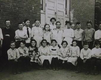 Lots of Boys-Girls-Class-School-Fashion-Bows-Hair-Vintage Real Photo Postcard