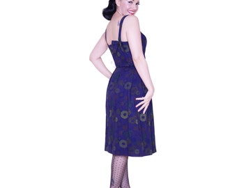 Spring SALE- Camille dress from The Domestic Dame - gorgeous navy and gold mutli-color floral dress with bow detail