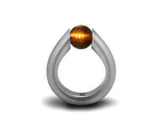 Tiger Eye Modern Tension Set Ring Stainless Steel