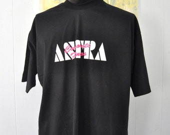 Vintage Neon TShirt Astra Corporate Fitness beach coverup oversized baggy style edm Pink Black Tee Funky 90s XXL