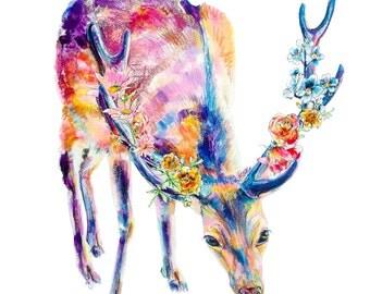 Deer with Flowers Print