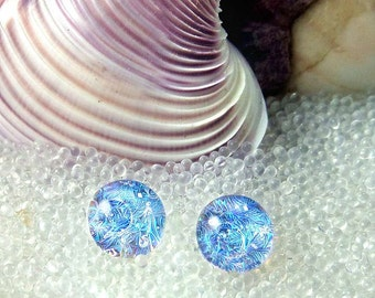 Dichroic Glass Blue Stud Earrings, Mermaid Tears, Sterling Silver, Titanium, Surgical Steel, Hypoallergenic, Blue Post Earrings, Mermaids