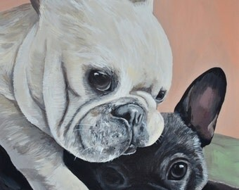 custom pet portraits TWO Pets in ONE canvas size 16x20