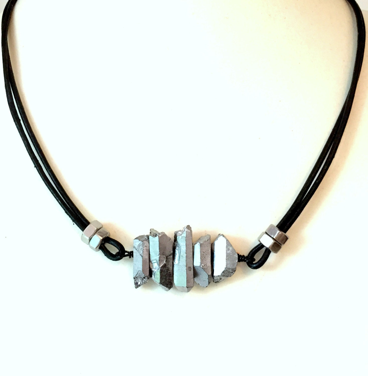 mens leather necklace w cool guys necklace