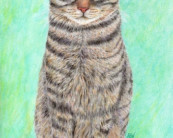 cat art print - A Cool Tabby - striped cat portrait drawing cat lover's gift, decor for home/room/wall/dorm, A3 print A4, 8x10, 6x8