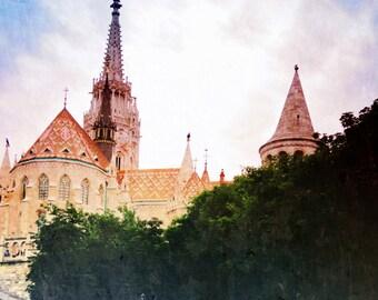 Colorful Wall Art, Rainbow Castle, Travel Photography, Budapest, Fairy Tale Art, Architecture, Nursery Decor, Film Photography