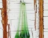 Vintage Prism Green Glass Chandelier Drop
