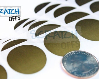 Scratch Off Labels 100 1 inch GOLD Round Circle Scratch-Off Stickers for DIY games and promotions