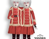 May & Mei  - Conjoined Twins articulated Paper Doll - 12.6 inches