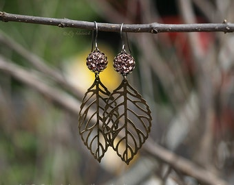 Glitter Leaf Earrings, Bronze Leaves with Rose Bronze Faux Druzy Dangles on Titanium Wires