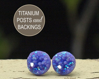Faux Druzy Earrings, Lavender Sparkle Glitter Durzy Studs, 10mm Faux Drusy Cabochons on Titanium Posts