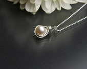 Pearl Pendant Necklace - Creamy Freshwater Pearl Necklace- Sterling Silver - Wedding Jewelry - June Birthstone Necklace - Dainty Necklace