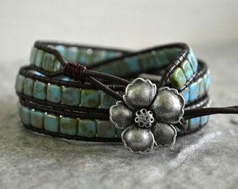 Desert Rose Triple Wrap Leather Bracelet