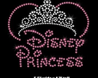 "5.5"" Minnie Mouse Disney Princess tiara iron on rhinestone transfer your color choice"