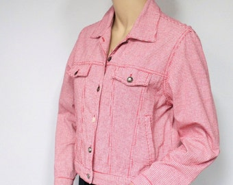 Jacket Vintage Red Gingham Checkered Jacket Boho Crop Jean Jacket Plaid Western Denim Style Size Small