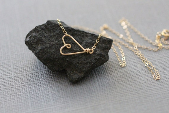 gold sideways heart necklace, delicate gold necklace, dainty gold necklace, delicate heart necklace, bridesmaids gift, N185