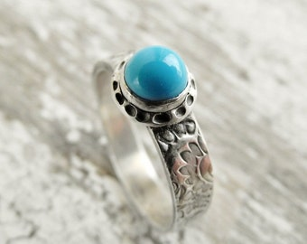 Sleeping Beauty Turquoise Ring Paisley Textured Fine Silver Ring, Blue Gemstone Size 8.5