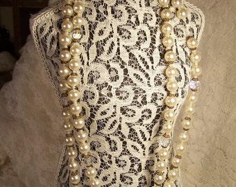 Vintage Pearl Necklace, Aurora Borealis, Swavorski, Austrian Crystal, Beaded Wedding Jewelry, Bride or Bridesmaid, Antique Estate Jewelry