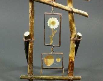 No. 14 Rustic Table Top Branches Lodge-style Frame with beveled glass, pressed Daisy and Colorado Aspen leaves