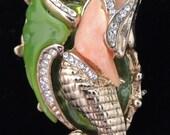 Vintage HATTIE CARNEGIE Mermaid Brooch / Hattie Carnegie Jewelry / Reclining Mermaid
