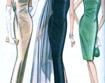 Pauline Trigere  UNCUT  McCalls Designer  Pattern 8042 * GLAMOROUS One Shoulder Evening Dress Gown and Scarf * Size 10 * Bust 31