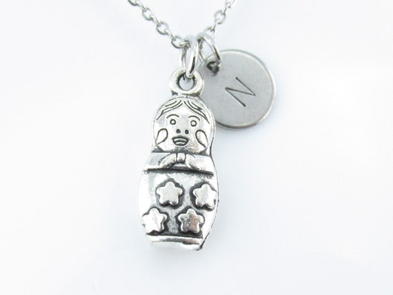 Necklace, Nesting Doll, Antique Silver Finished Russian Doll Charm ...