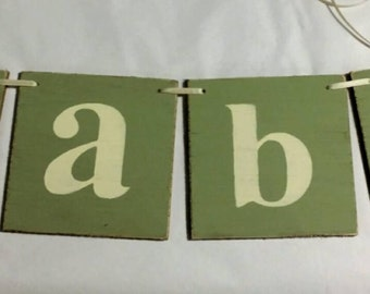 Baby Banner Garland Shabby Chic Green Wood Banner Tiles Custom Colors Photo Prop Nursery Banner