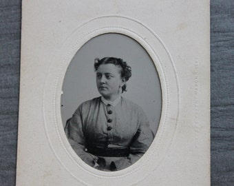 Beautiful Victorian Tintype Portrait Framed with Photographer's Label / Stuart and Co. Brooklyn