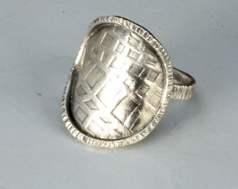 Sterling Disc Ring, Textured Silver Shield Ring, Oxidized Antique Finish Sterling Silver Ring, Made to Order Ring